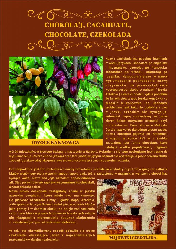 Plansza numer 4 - CHOKOLA'J, CACAHUATL, CHOCOLATE, CZEKOLADA