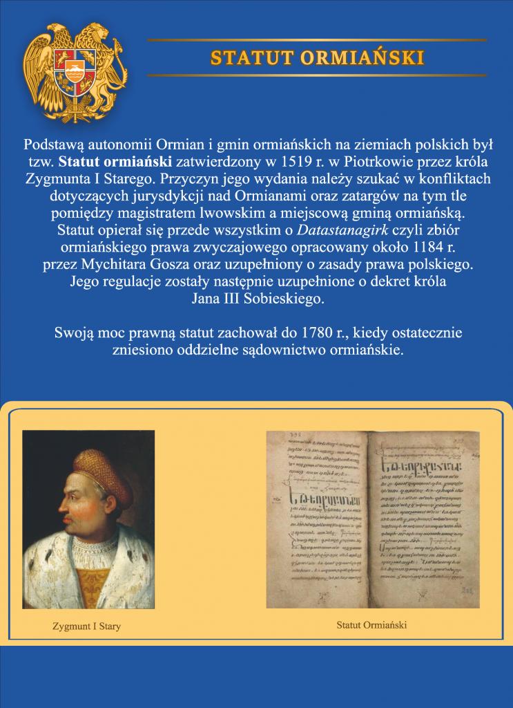 Plansza numer 8 - STATUT ORMIAŃSKI (1519)